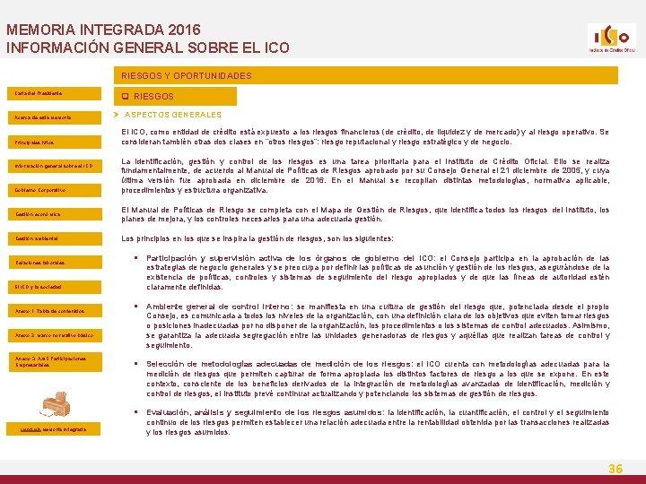 MEMORIA INTEGRADA 2016 INFORMACIÓN GENERAL SOBRE EL ICO RIESGOS Y OPORTUNIDADES Carta del Presidente