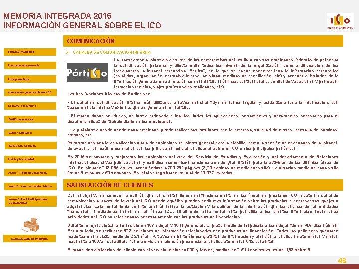 MEMORIA INTEGRADA 2016 INFORMACIÓN GENERAL SOBRE EL ICO COMUNICACIÓN Carta del Presidente Acerca de