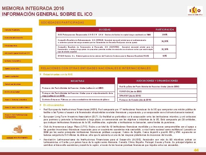 MEMORIA INTEGRADA 2016 INFORMACIÓN GENERAL SOBRE EL ICO SOCIEDADES PARTICIPADAS SOCIEDAD PARTICIPACIÓN AXIS Participaciones