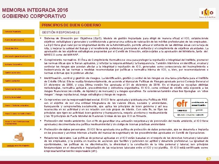MEMORIA INTEGRADA 2016 GOBIERNO CORPORATIVO PRINCIPIOS DE BUEN GOBIERNO Carta del Presidente Acerca de