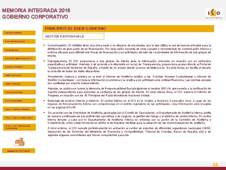 MEMORIA INTEGRADA 2016 GOBIERNO CORPORATIVO PRINCIPIOS DE BUEN GOBIERNO Carta del Presidente GESTIÓN RESPONSABLE