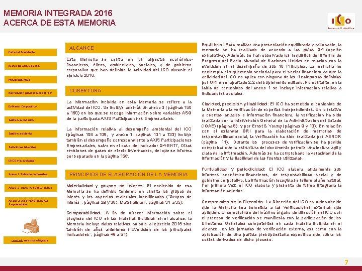 MEMORIA INTEGRADA 2016 ACERCA DE ESTA MEMORIA Carta del Presidente Acerca de esta Memoria
