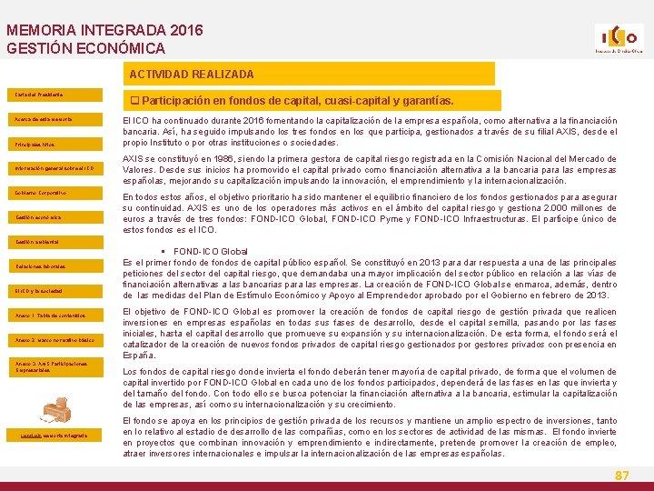 MEMORIA INTEGRADA 2016 GESTIÓN ECONÓMICA ACTIVIDAD REALIZADA Carta del Presidente Acerca de esta Memoria