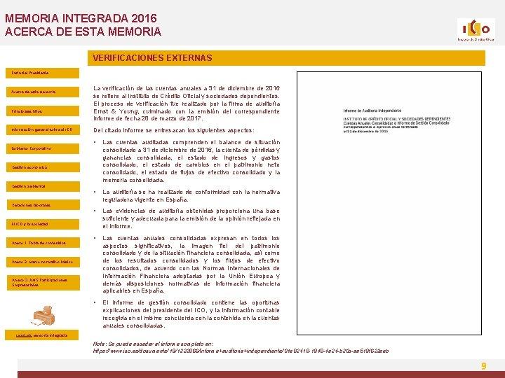 MEMORIA INTEGRADA 2016 ACERCA DE ESTA MEMORIA VERIFICACIONES EXTERNAS Carta del Presidente Acerca de