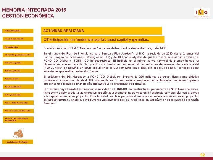 MEMORIA INTEGRADA 2016 GESTIÓN ECONÓMICA Carta del Presidente ACTIVIDAD REALIZADA Acerca de esta Memoria