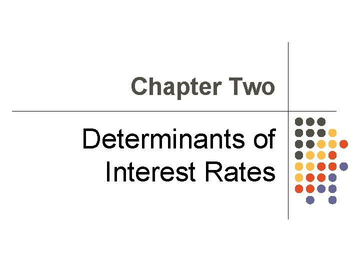 Chapter Two Determinants of Interest Rates