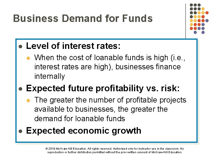 Business Demand for Funds l Level of interest rates: l l Expected future profitability