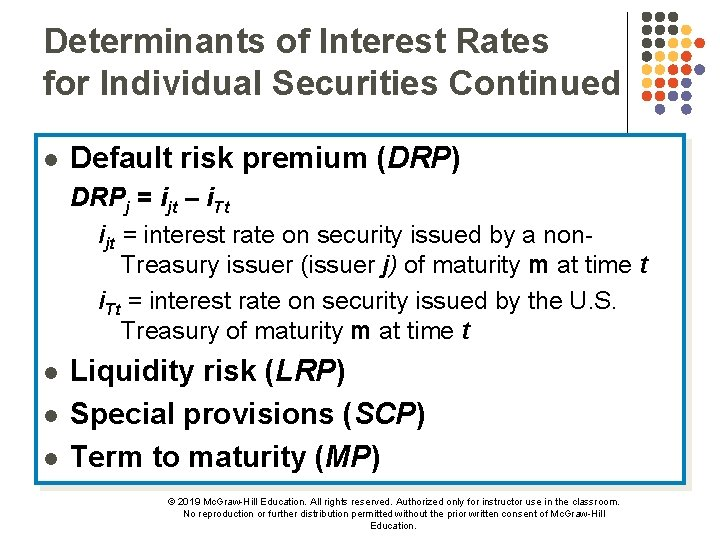 Determinants of Interest Rates for Individual Securities Continued l Default risk premium (DRP) DRPj