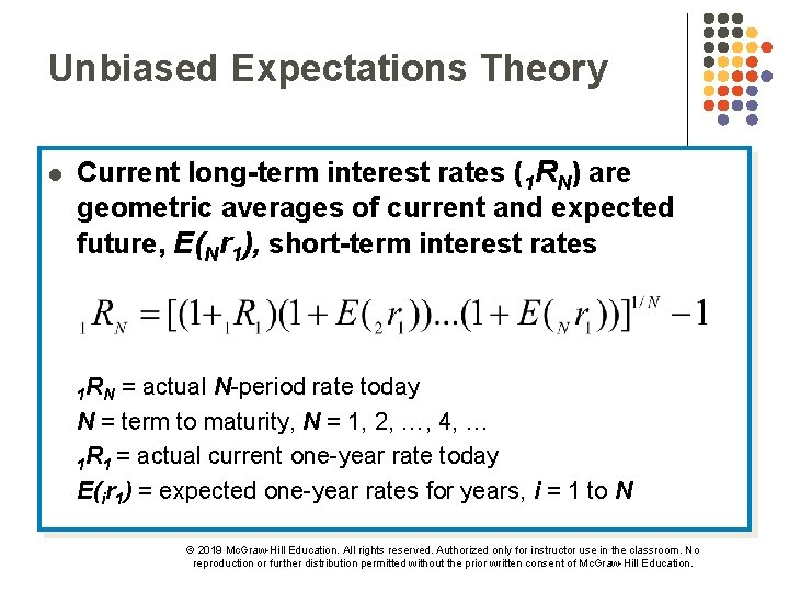 Unbiased Expectations Theory l Current long-term interest rates (1 RN) are geometric averages of