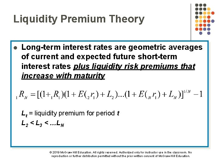 Liquidity Premium Theory l Long-term interest rates are geometric averages of current and expected