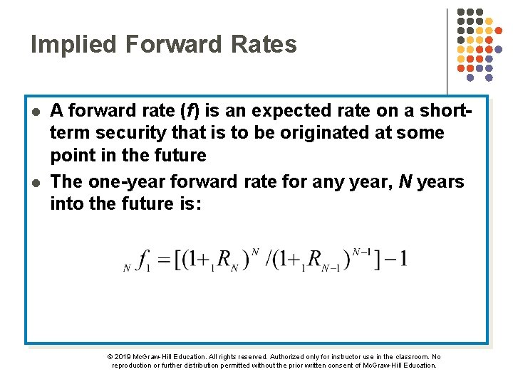 Implied Forward Rates l l A forward rate (f) is an expected rate on