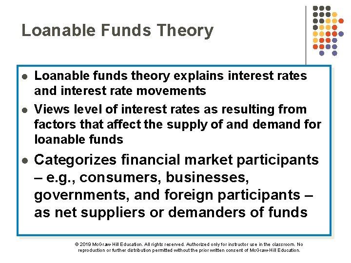 Loanable Funds Theory l l l Loanable funds theory explains interest rates and interest