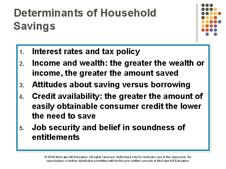 Determinants of Household Savings 1. 2. 3. 4. 5. Interest rates and tax policy