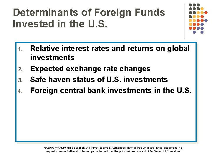 Determinants of Foreign Funds Invested in the U. S. 1. 2. 3. 4. Relative