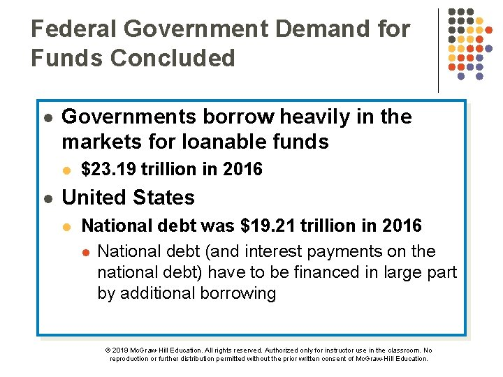Federal Government Demand for Funds Concluded l Governments borrow heavily in the markets for