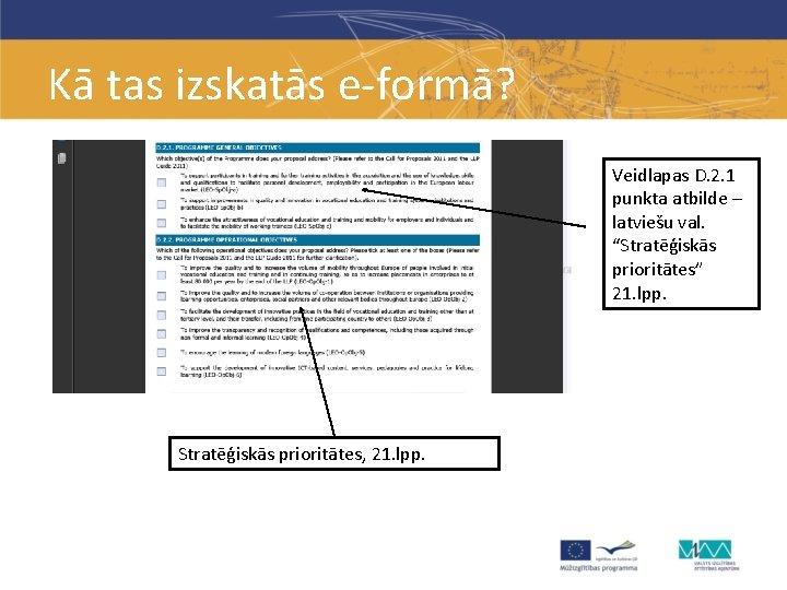 """Kā tas izskatās e-formā? Veidlapas D. 2. 1 punkta atbilde – latviešu val. """"Stratēģiskās"""