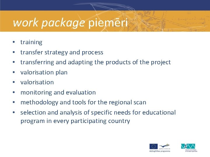 work package piemēri • • training transfer strategy and process transferring and adapting the