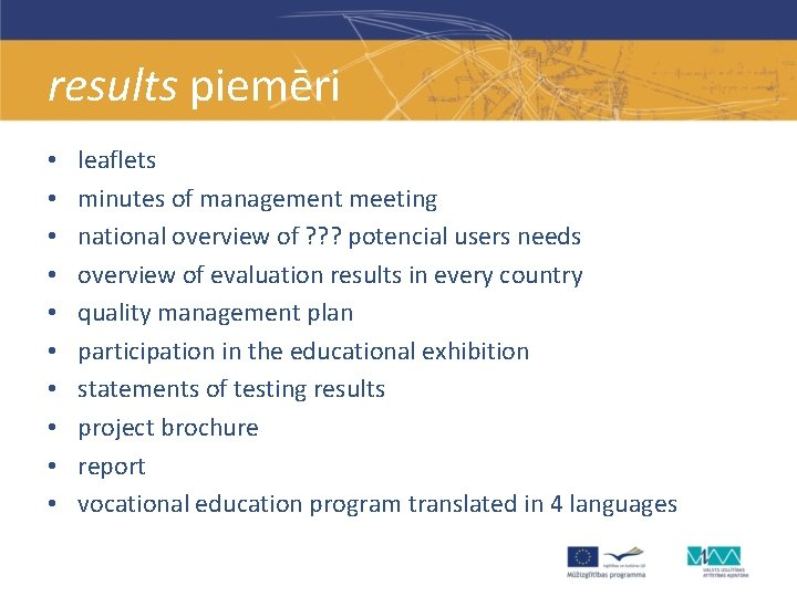 results piemēri • • • leaflets minutes of management meeting national overview of ?