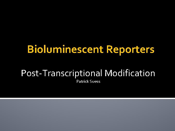 Bioluminescent Reporters Post-Transcriptional Modification Patrick Suess