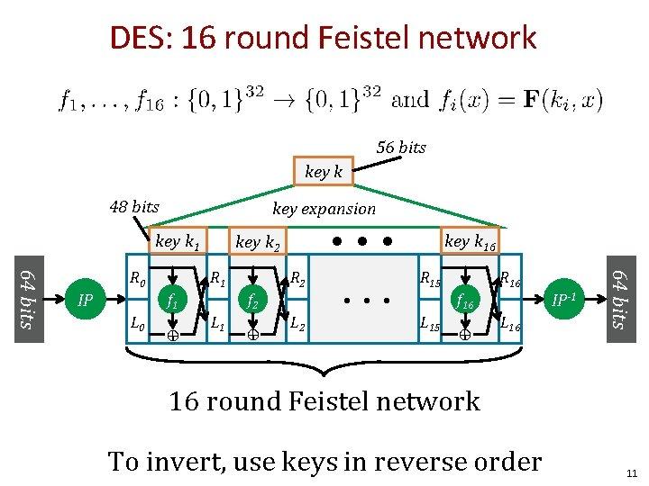 DES: 16 round Feistel network 56 bits key k 48 bits key expansion key