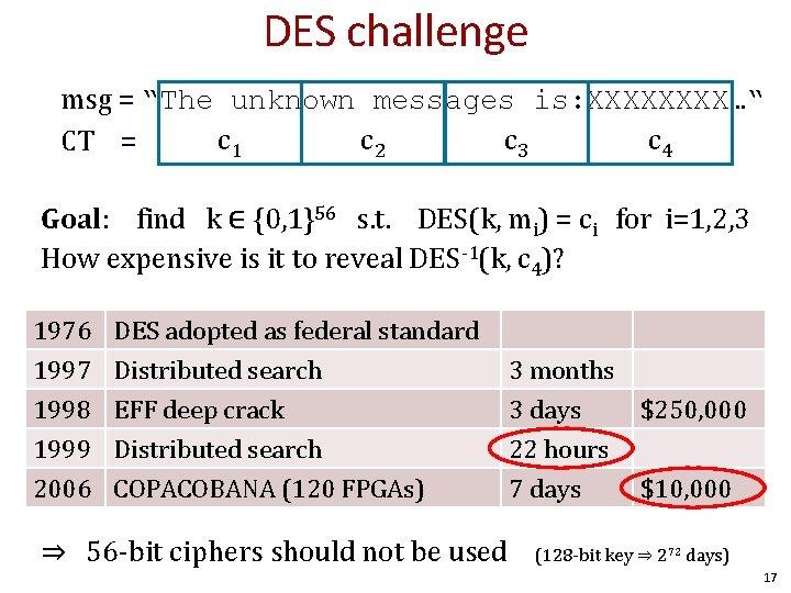 "DES challenge msg = ""The unknown messages is: XXXX…"" c 1 c 2 c"