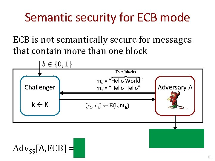 Semantic security for ECB mode ECB is not semantically secure for messages that contain