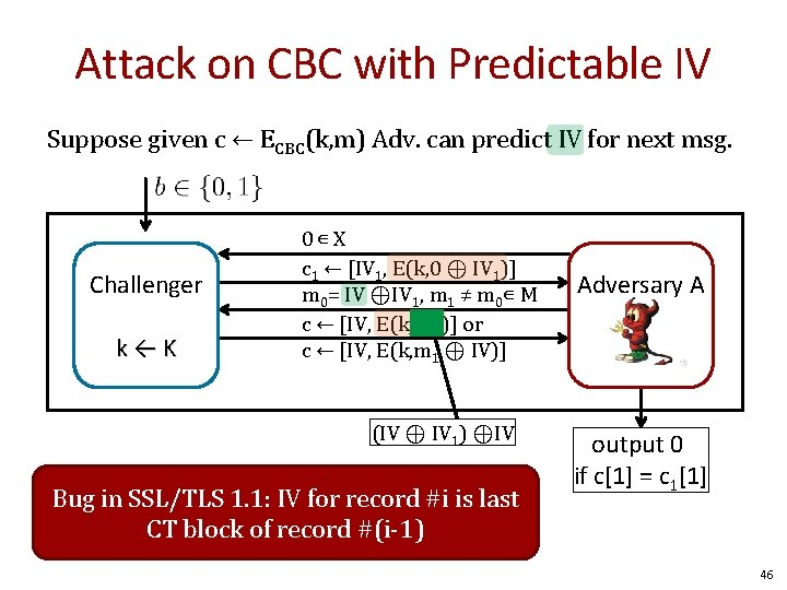 Attack on CBC with Predictable IV Suppose given c ← ECBC(k, m) Adv. can