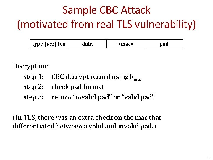 Sample CBC Attack (motivated from real TLS vulnerability) type||ver||len data <mac> pad Decryption: step