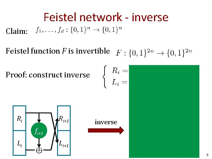 Feistel network - inverse Claim: Feistel function F is invertible Proof: construct inverse Ri+1
