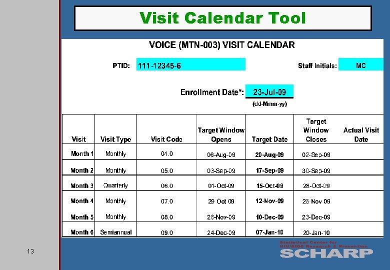 Visit Calendar Tool 13