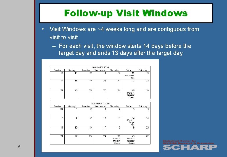 Follow-up Visit Windows • Visit Windows are ~4 weeks long and are contiguous from