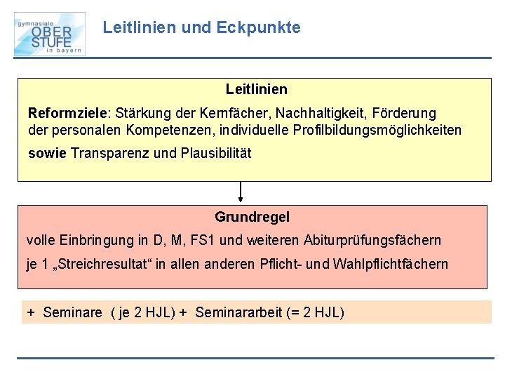 Leitlinien und Eckpunkte Leitlinien Reformziele: Stärkung der Kernfächer, Nachhaltigkeit, Förderung der personalen Kompetenzen, individuelle