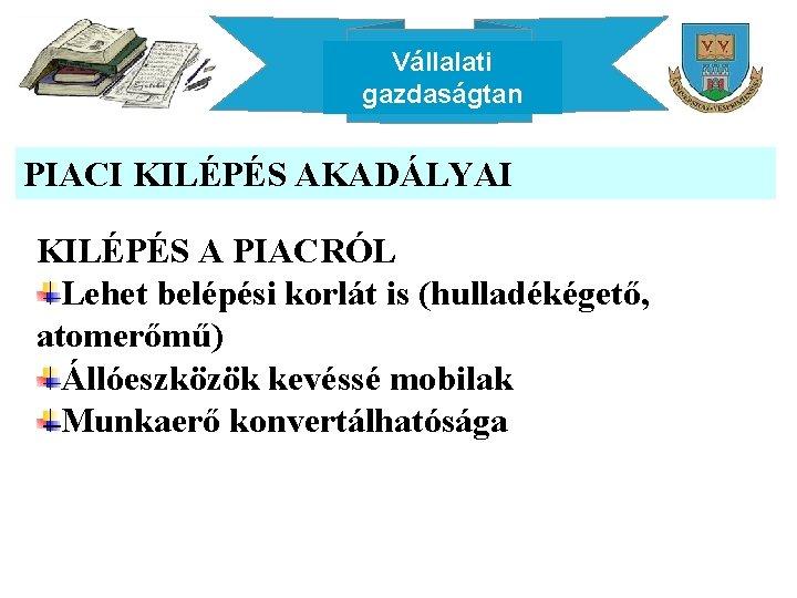 Vállalati gazdaságtan PIACI KILÉPÉS AKADÁLYAI KILÉPÉS A PIACRÓL Lehet belépési korlát is (hulladékégető, atomerőmű)