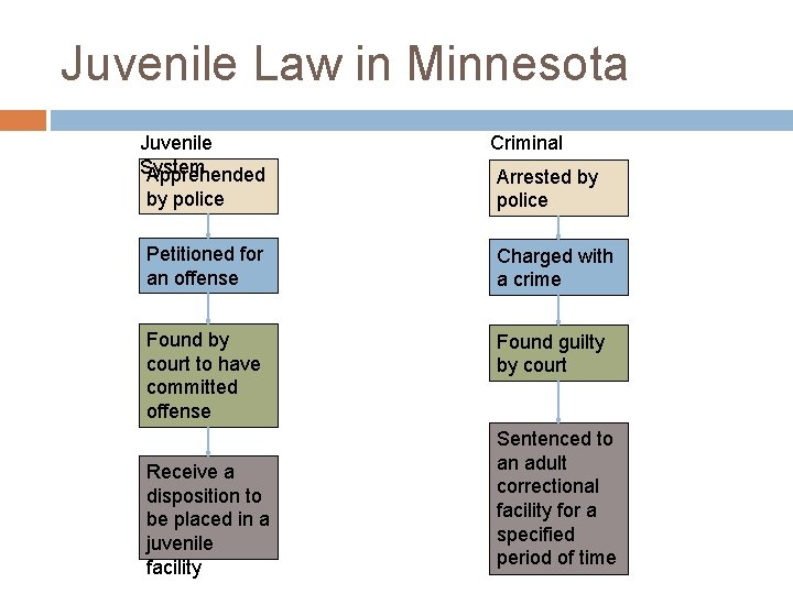 Juvenile Law in Minnesota Juvenile System Apprehended Criminal System Arrested by by police Petitioned