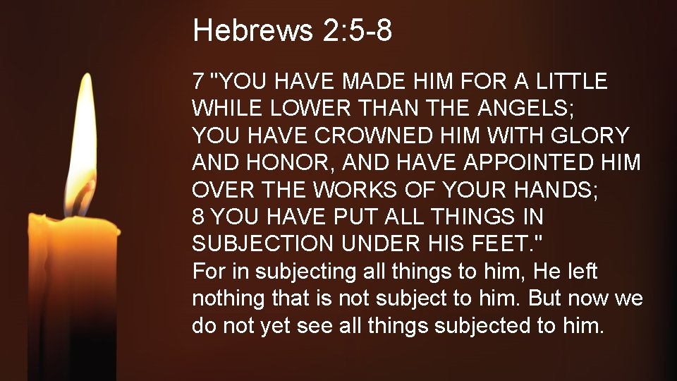 """Hebrews 2: 5 -8 7 """"YOU HAVE MADE HIM FOR A LITTLE WHILE LOWER"""