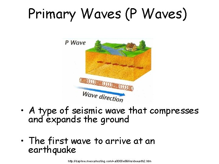 Primary Waves (P Waves) • A type of seismic wave that compresses and expands