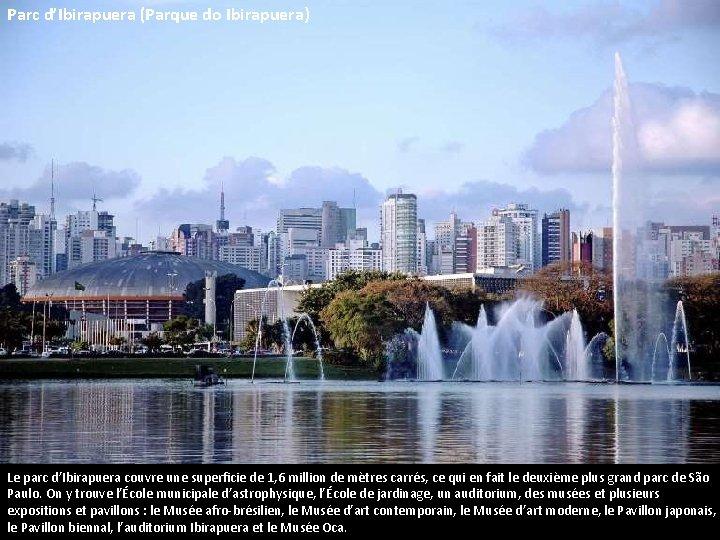 Parc d'Ibirapuera (Parque do Ibirapuera) Le parc d'Ibirapuera couvre une superficie de 1, 6