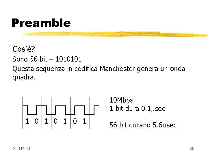 Preamble Cos'è? Sono 56 bit – 1010101… Questa sequenza in codifica Manchester genera un