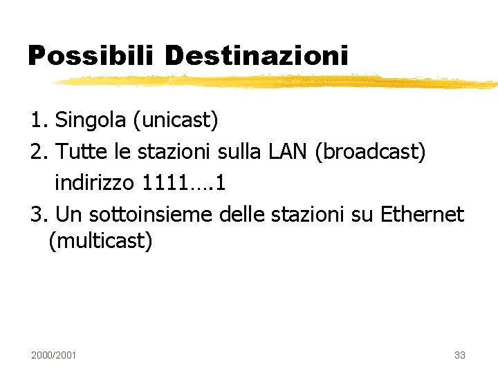 Possibili Destinazioni 1. Singola (unicast) 2. Tutte le stazioni sulla LAN (broadcast) indirizzo 1111….