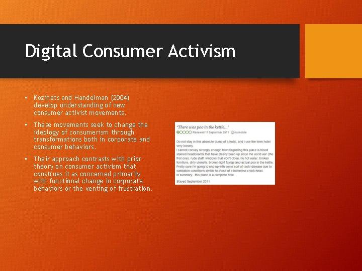 Digital Consumer Activism • Kozinets and Handelman (2004) develop understanding of new consumer activist