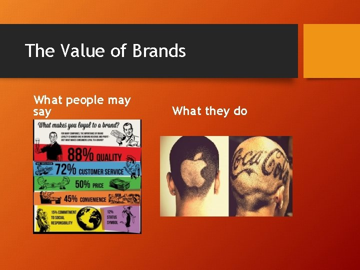 The Value of Brands What people may say What they do