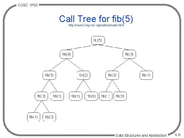COSC 1 P 03 Call Tree for fib(5) http: //www 2. hig. no/~algmet/animate. html