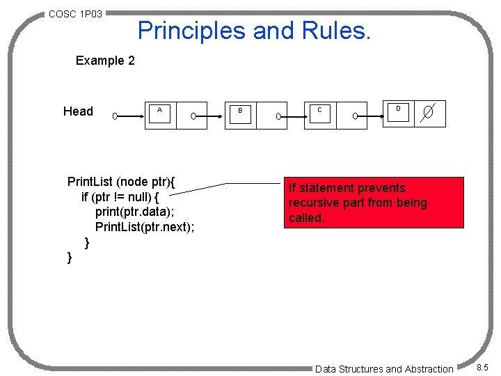 COSC 1 P 03 Principles and Rules. Example 2 Head A Print. List (node