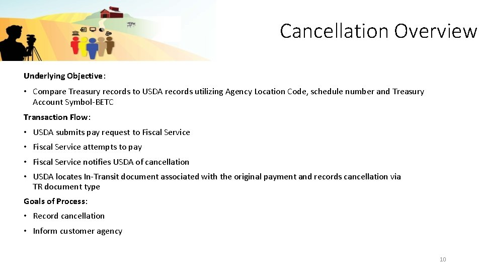 Cancellation Overview Underlying Objective: • Compare Treasury records to USDA records utilizing Agency Location