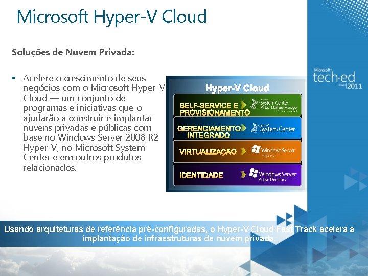 Microsoft Hyper-V Cloud Soluções de Nuvem Privada: § Acelere o crescimento de seus negócios