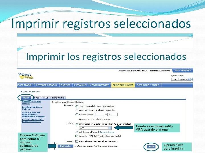 Imprimir registros seleccionados