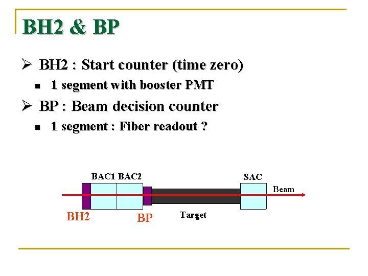 BH 2 & BP Ø BH 2 : Start counter (time zero) n 1