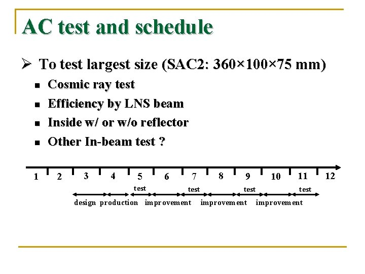 AC test and schedule Ø To test largest size (SAC 2: 360× 100× 75