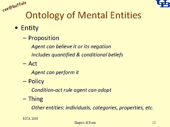 alo uff b @ cse Ontology of Mental Entities • Entity – Proposition Agent