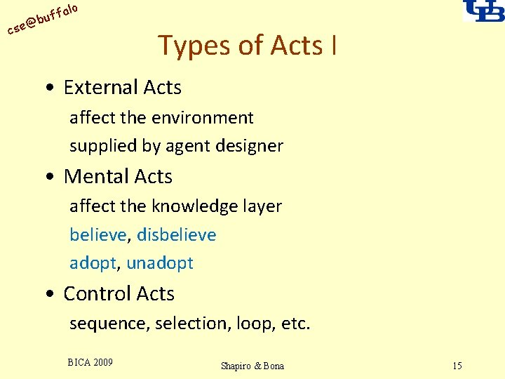 alo uff b @ cse Types of Acts I • External Acts affect the